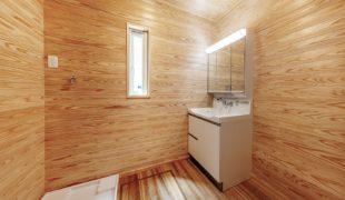 自然素材創る健康住宅、芳香剤不要の、洗面、脱衣室、完成8,17